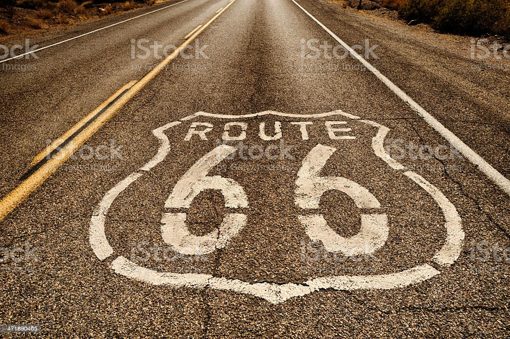 Close up of route 66 painted on the road stock photo