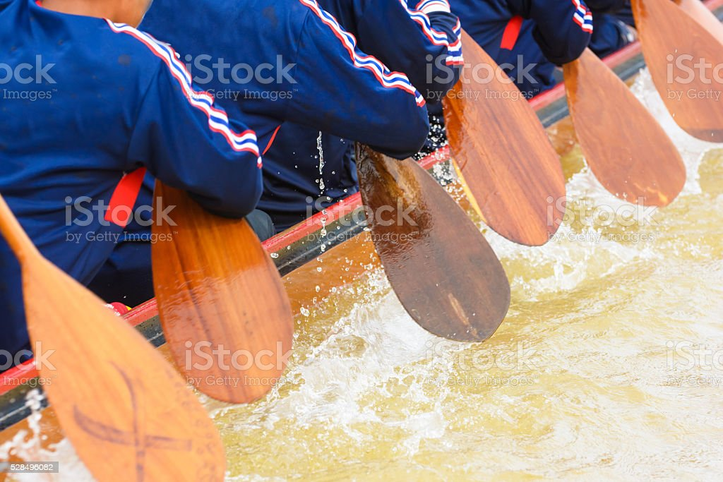 Close up of rowing team race stock photo