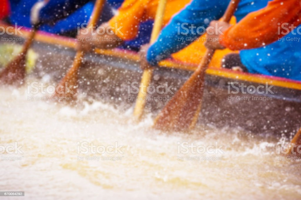 Close up of rowing team race – Foto