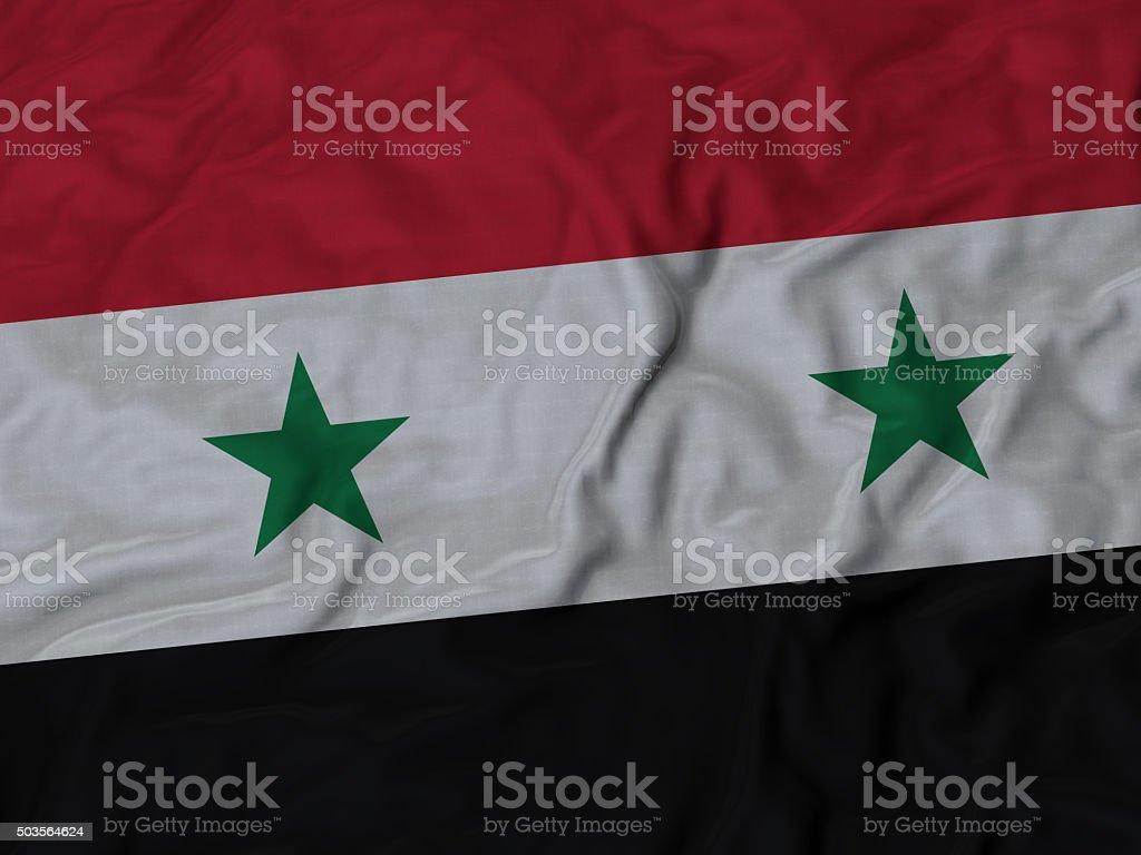 Primer plano de bandera de siria con volantes - foto de stock