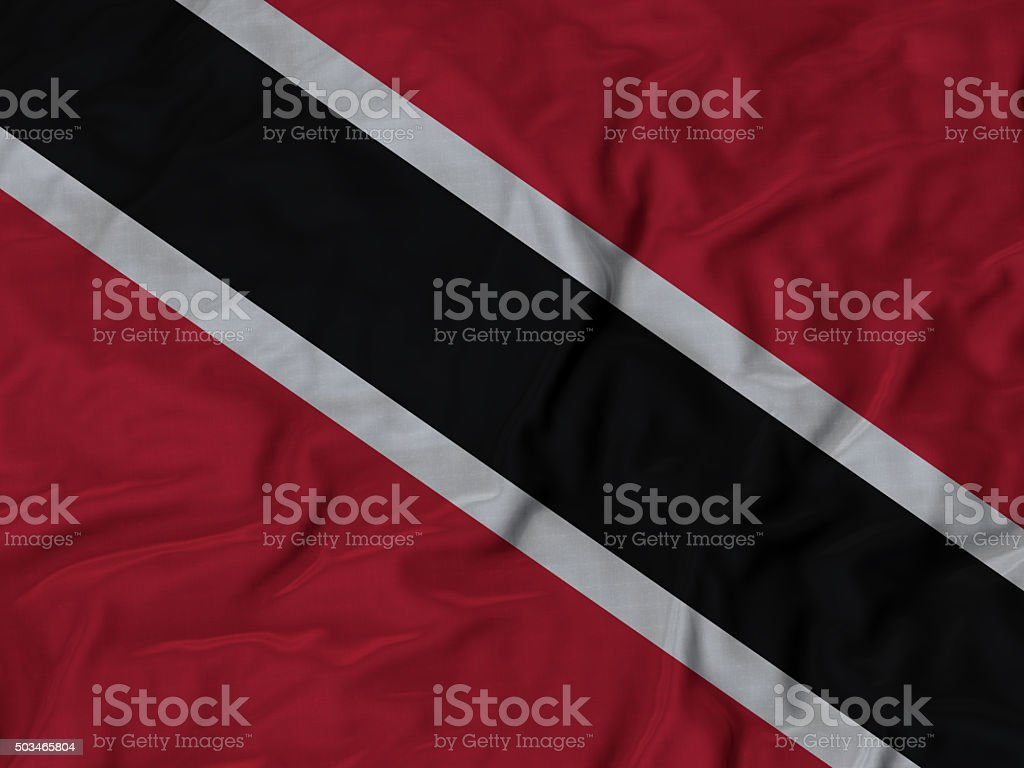 Close up of Ruffled Trinidad and Tobago flag stock photo