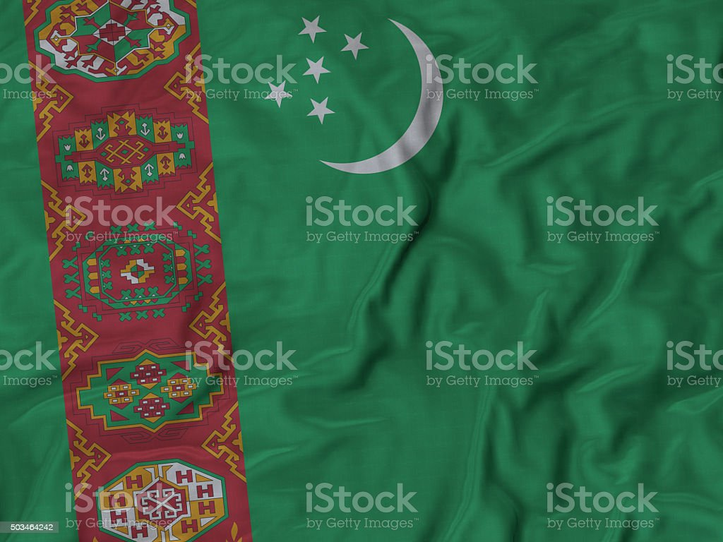Close up of Ruffled Turkmenistan flag stock photo