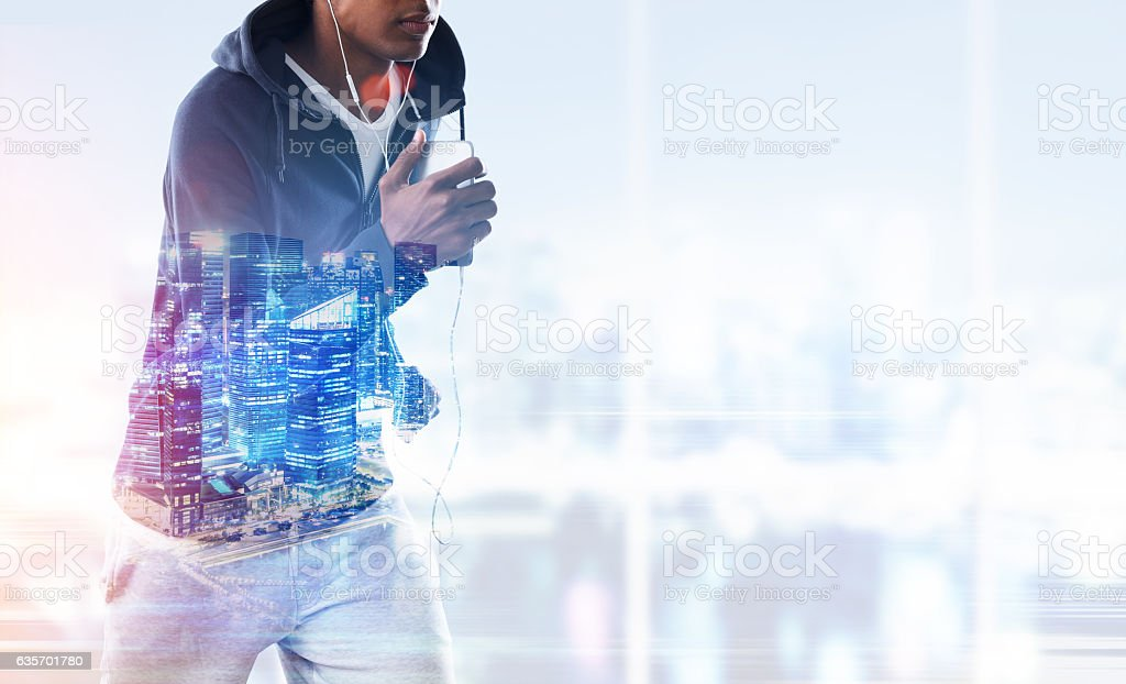 Close up of running African American man royalty-free stock photo