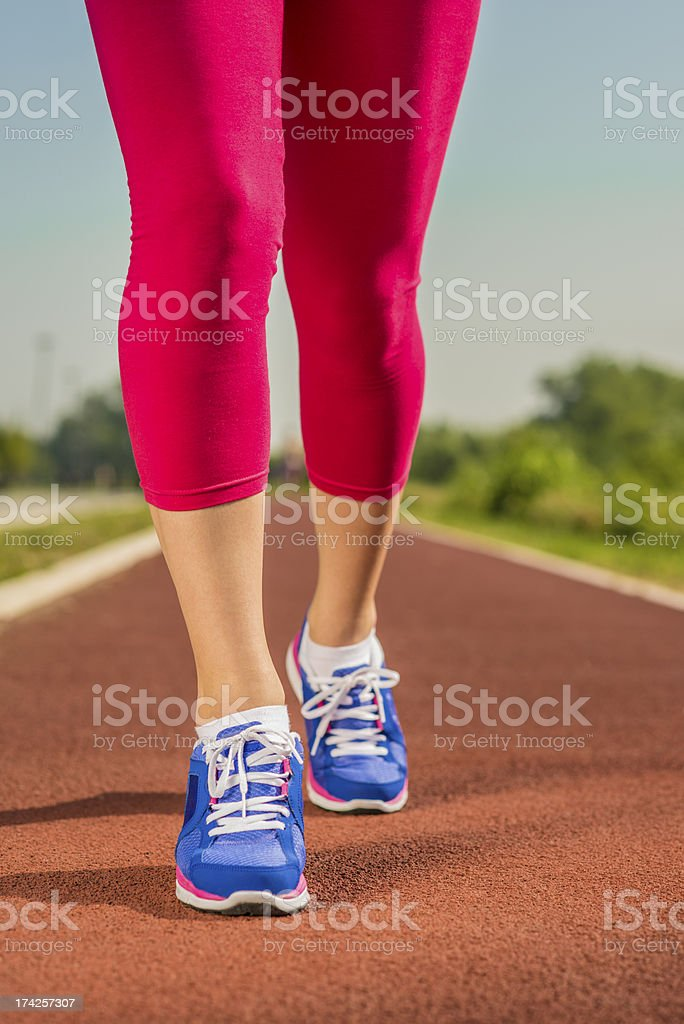 Close up of running shoes in use royalty-free stock photo