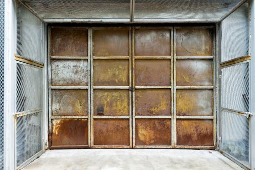 Close up of rusty metal door.