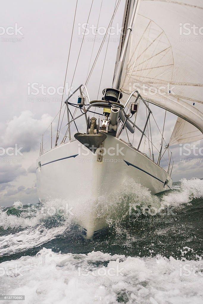 Close up of Sailing Boat or Yacht at sea stock photo