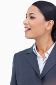 istock Close up of saleswoman looking to the side 824867730