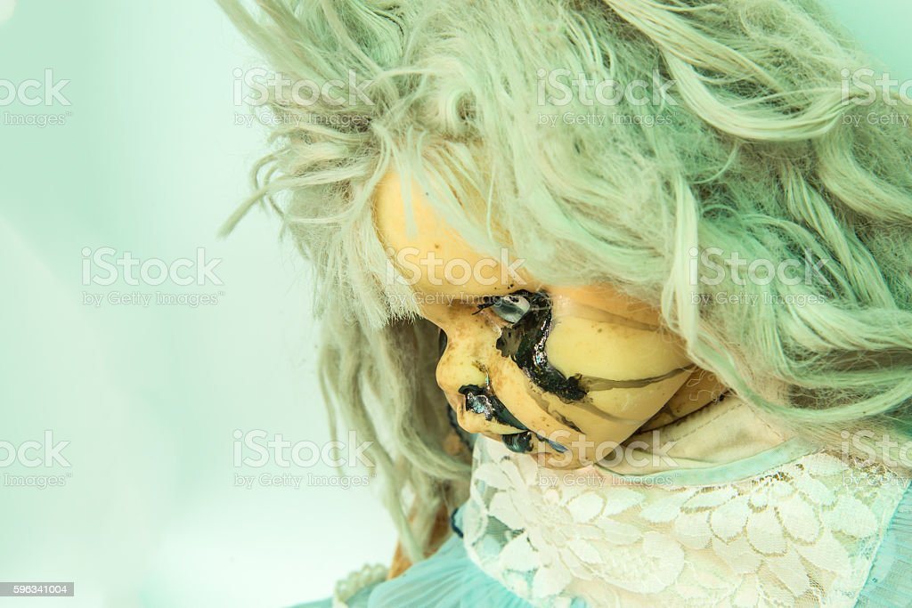Close up of scary baby doll of halloween royalty-free stock photo