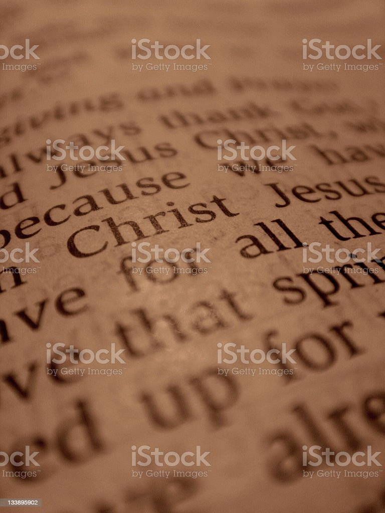 Close Up of Scripture from the Bible stock photo