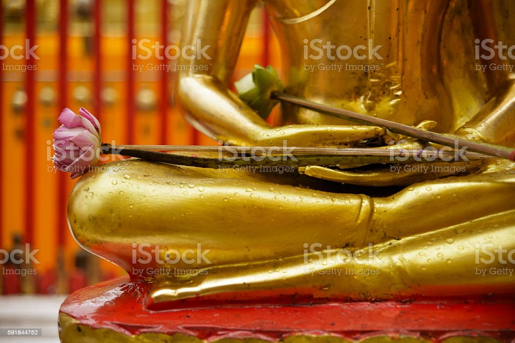 Close Up of Seated Buddha Statue with Lotus Offerings stock photo