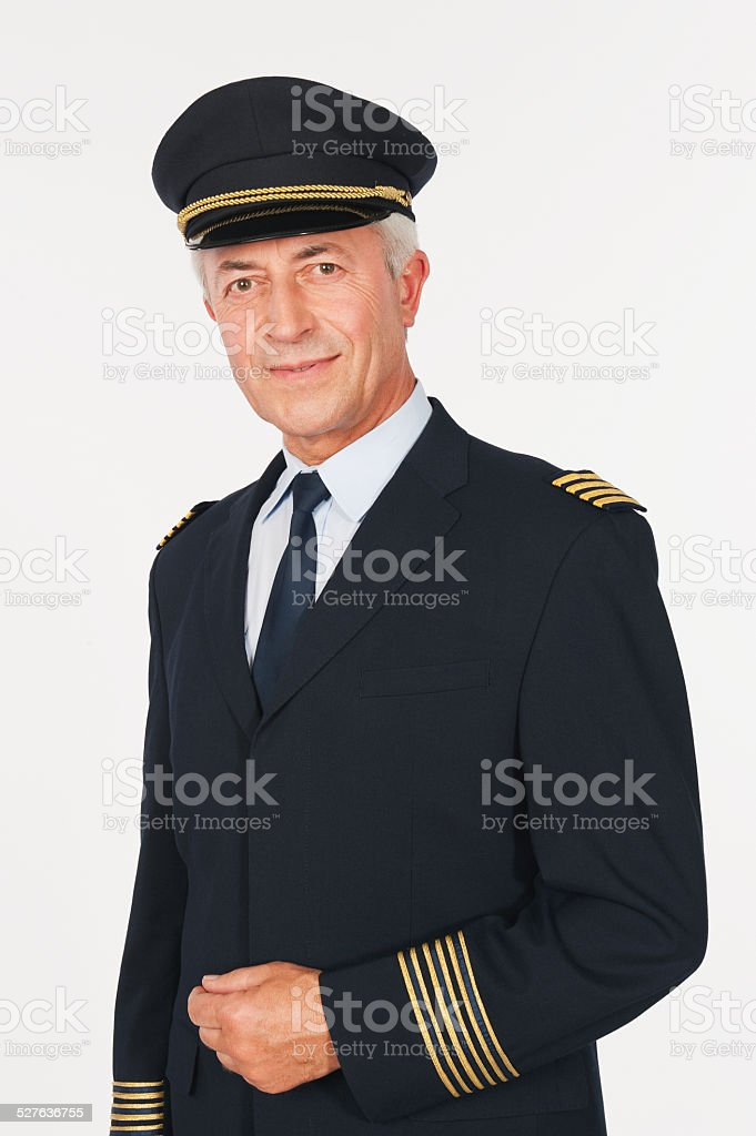 Close up of senior flight captain on white background stock photo