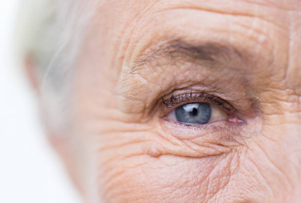 close up of senior woman face and eye - eye stock pictures, royalty-free photos & images