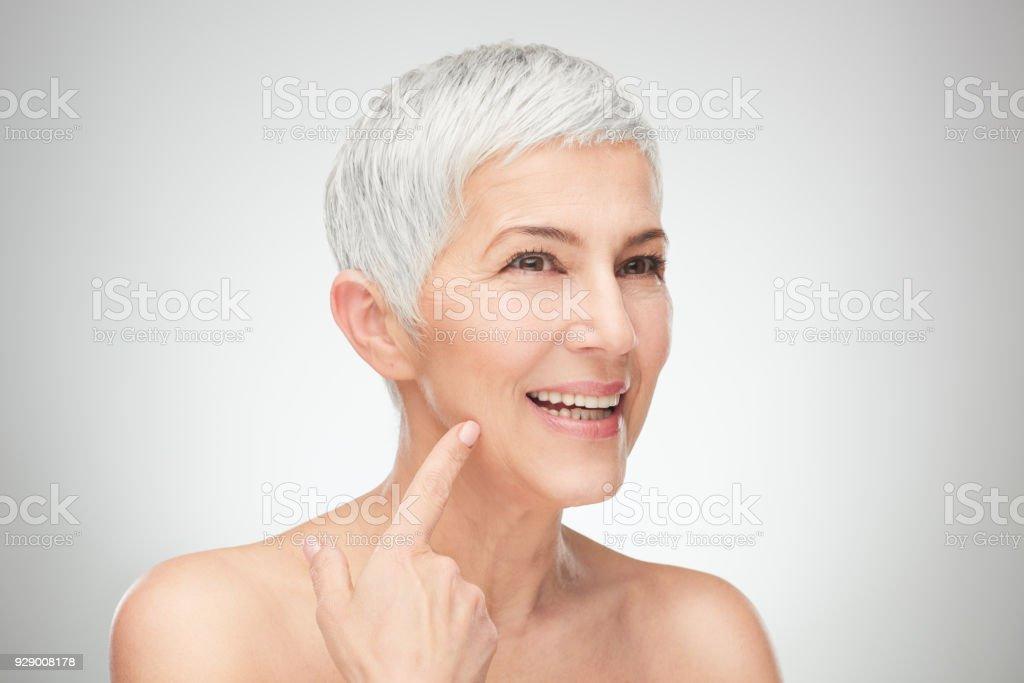 Close up of senior woman. stock photo