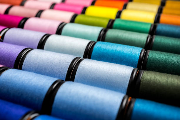 close up of sewing threads - embroidery machine stock pictures, royalty-free photos & images