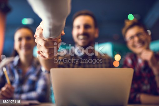 istock Close up of shaking hands after successful agreement. 680407116