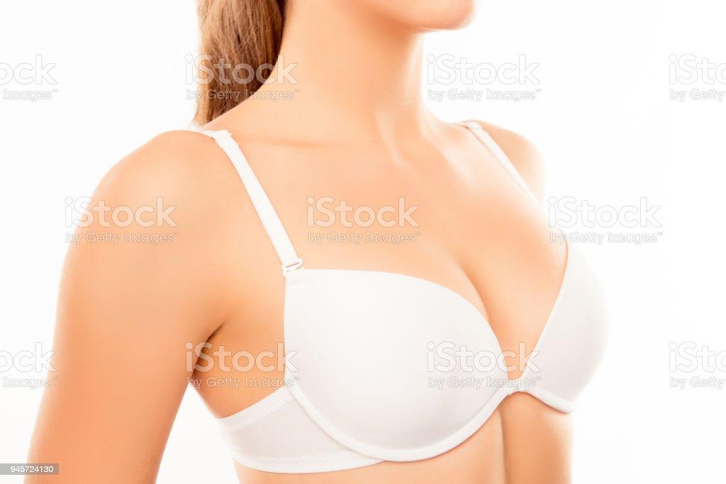 Close up of shapely sexy woman wearing white bra stock photo