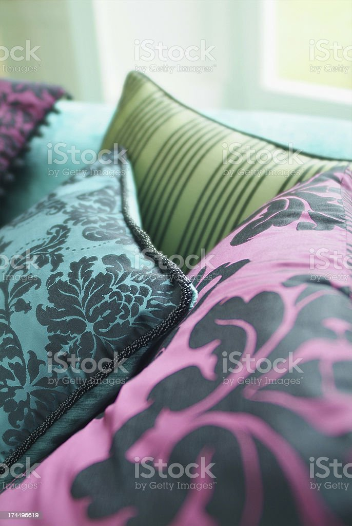 Close up of silk cushion royalty-free stock photo
