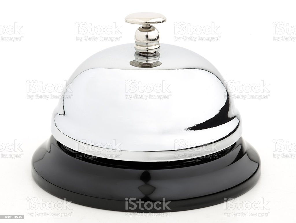 Close up of silver counter bell stock photo