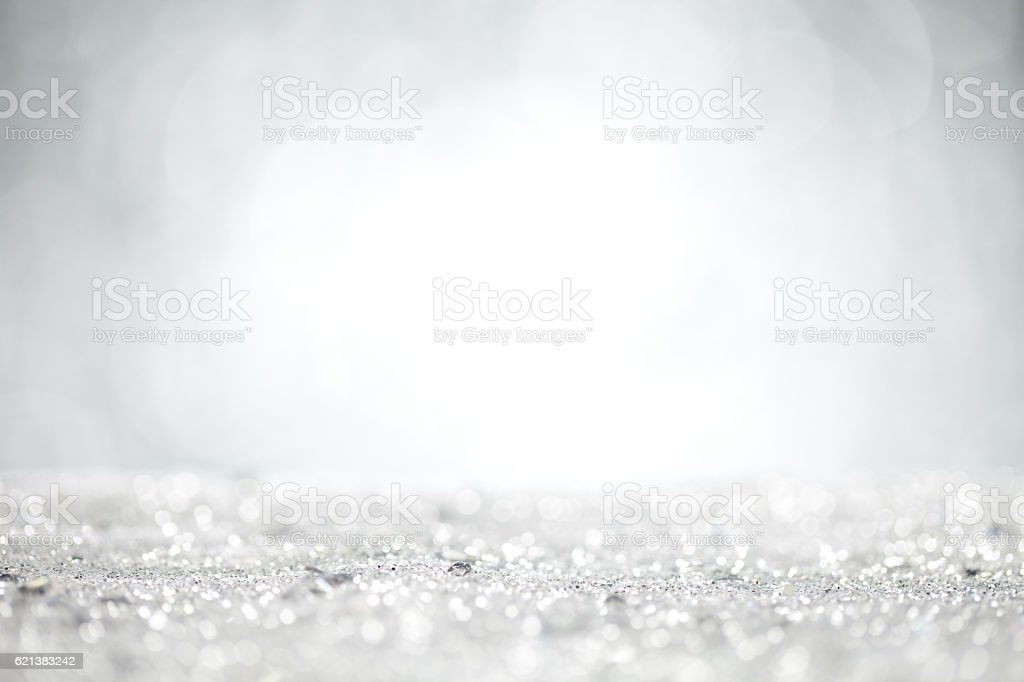 Close up of silver glitter with grey background – Foto