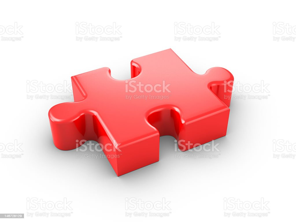 Close up of single 3D red jigsaw piece  royalty-free stock photo