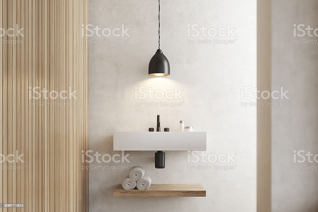 Close up of sink with shelf, white wooden stock photo