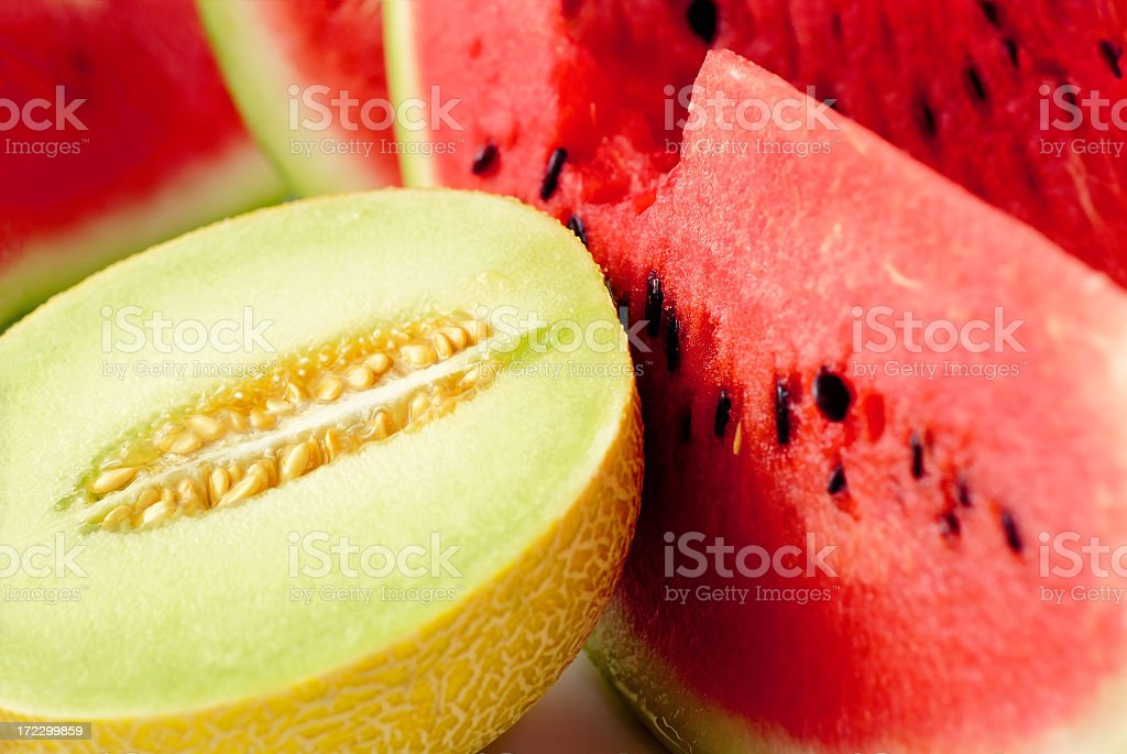 Close up of sliced melon and watermelon royalty-free stock photo