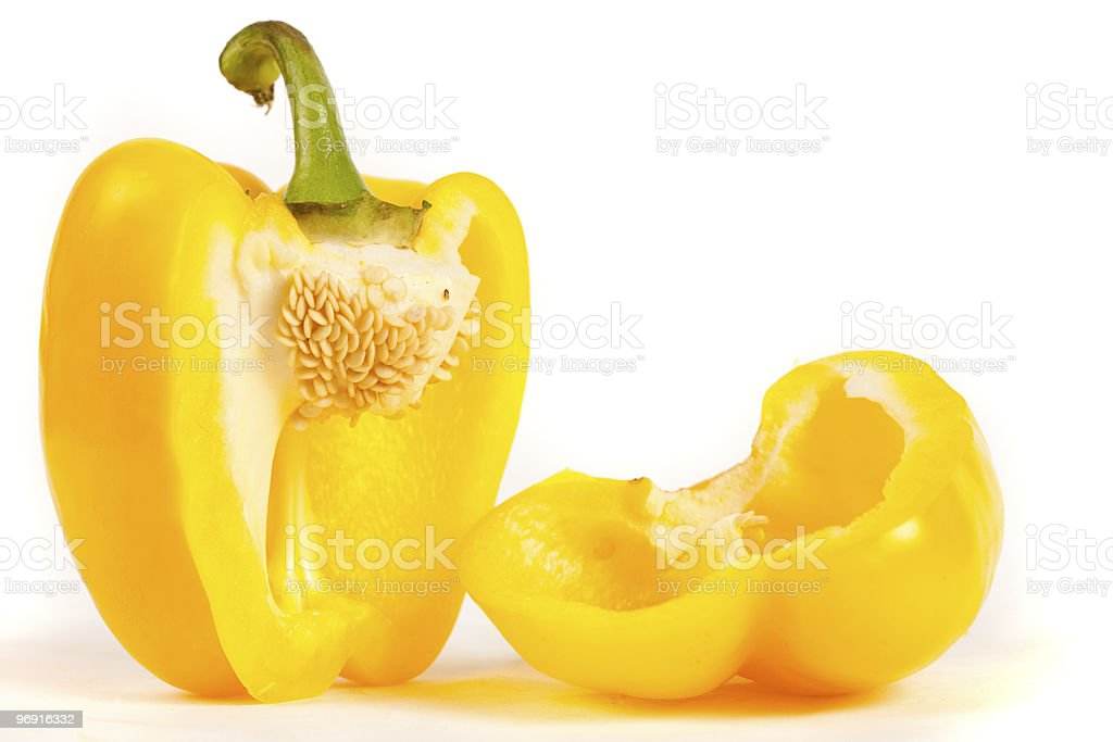 Close up of sliced yellow pepper royalty-free stock photo