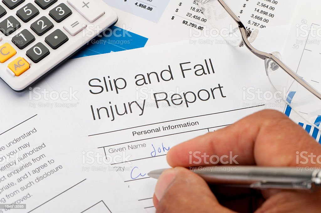 Close up of Slip and Fall injury Form royalty-free stock photo
