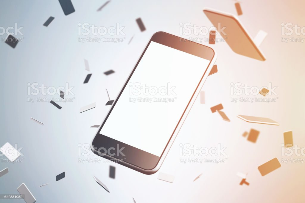 Close up of smartphone, blue background, toneed stock photo