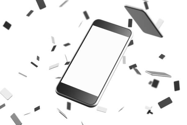Close up of smartphone, white background stock photo