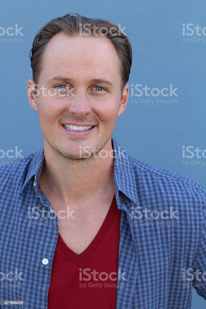 Close up of smiling adult male stock photo