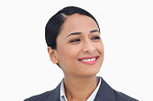 istock Close up of smiling saleswoman looking to the side 824867692