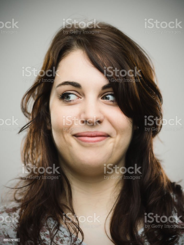 Close up of smiling woman looking away stock photo