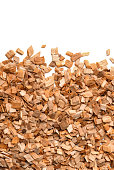 Close up of smoking woodchips with empty space
