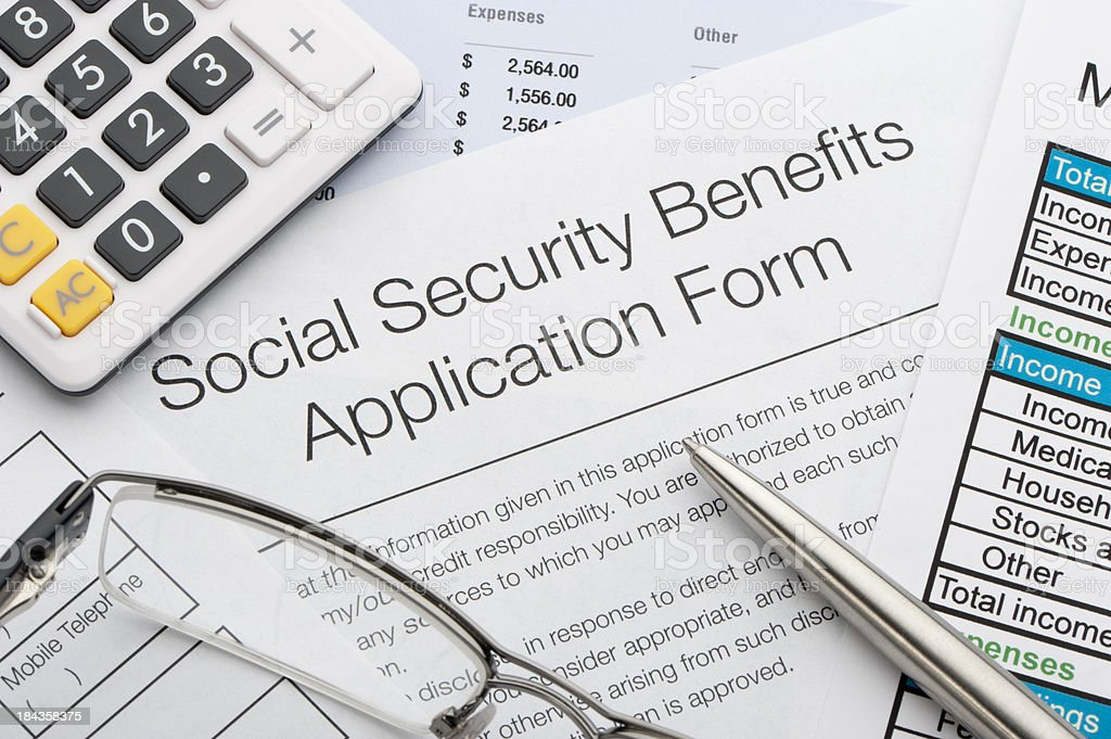 Close up of social security application stock photo