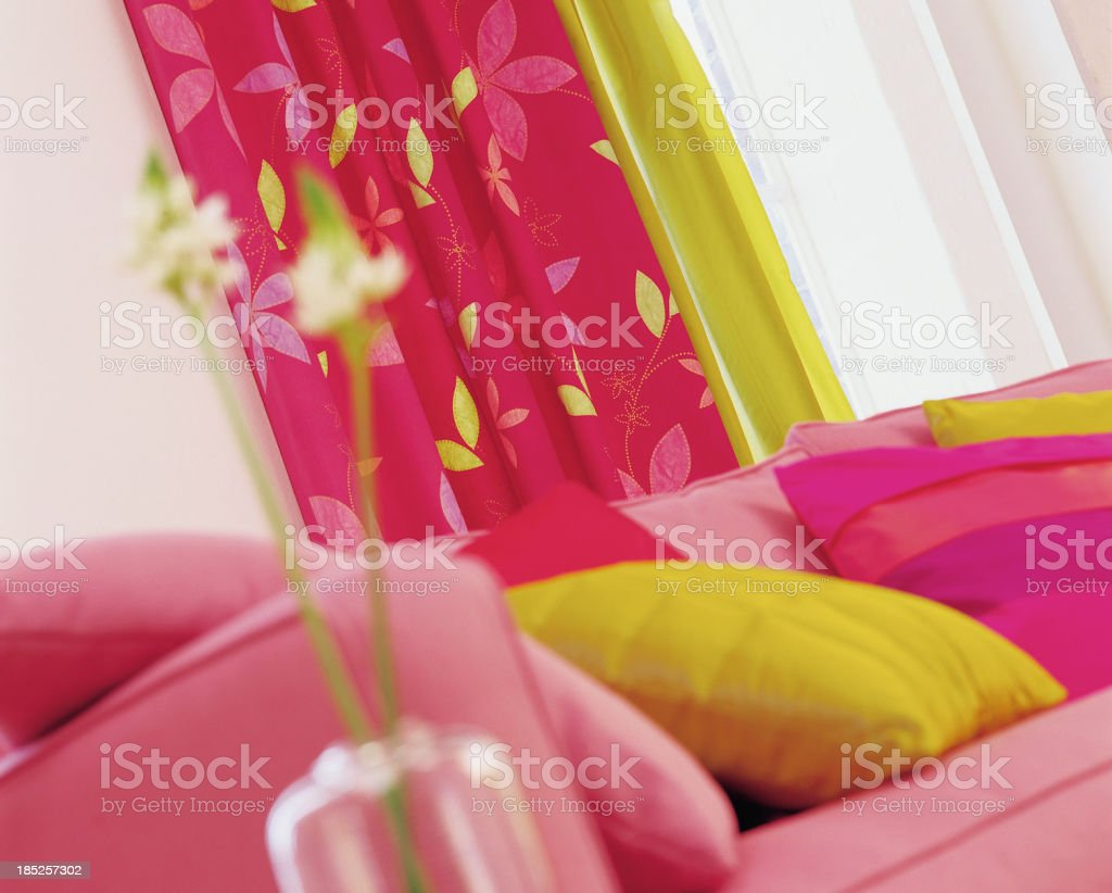 Close up of sofa In Window with cushions royalty-free stock photo