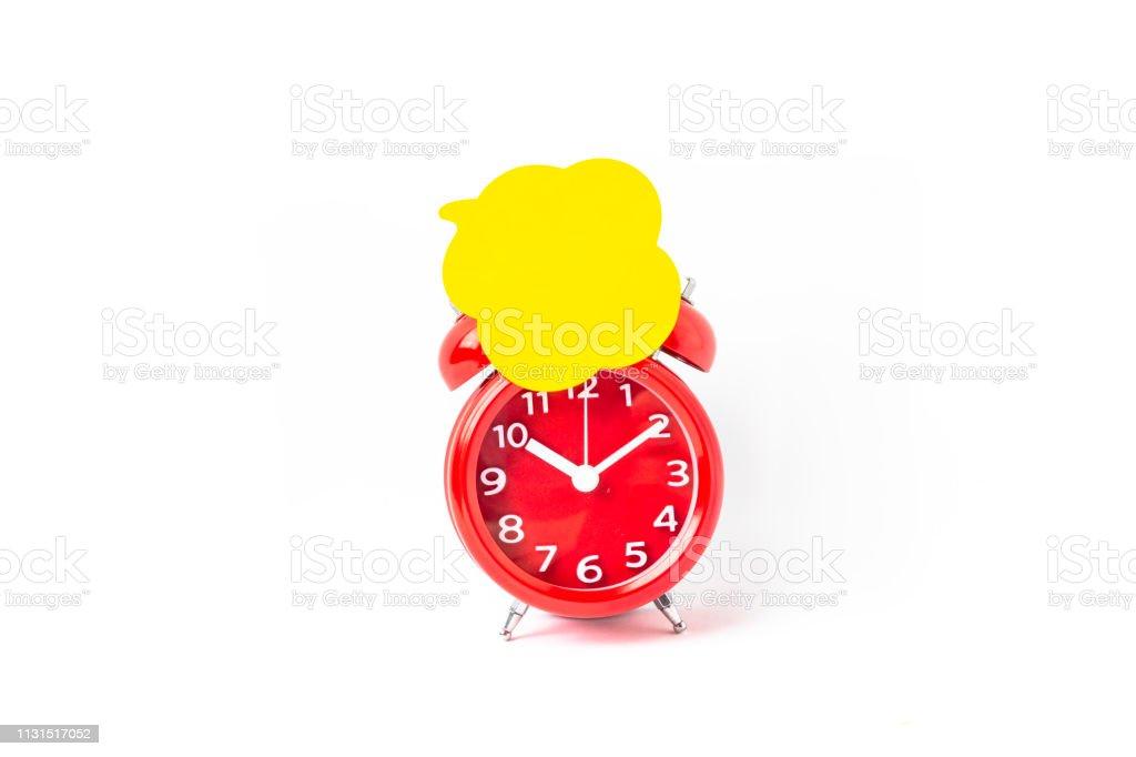 Close up of Speech bubbles On Alarm Clock stock photo