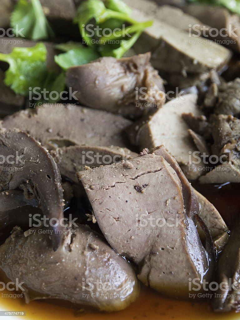 close up of spicy sliced liver salad stock photo