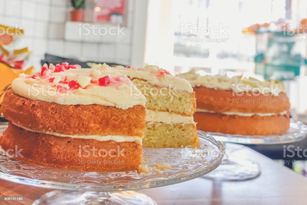 Close up of sponge cake in bakery store stock photo