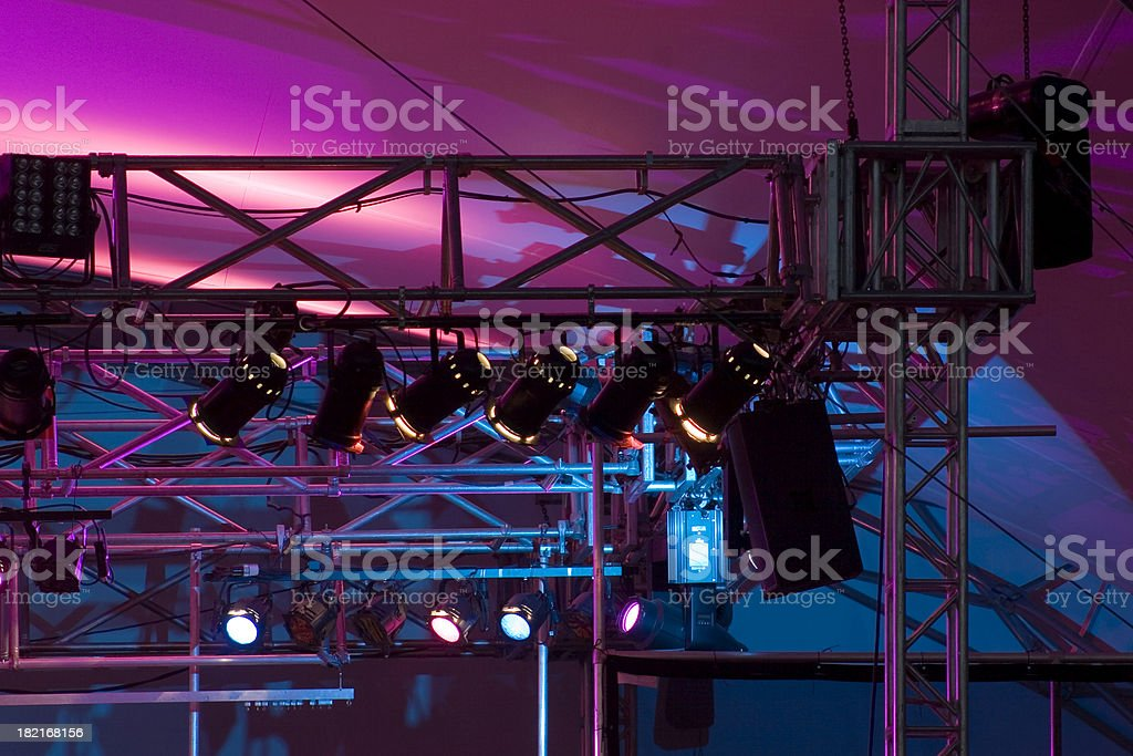 Close up of stage rigging and lights. stock photo