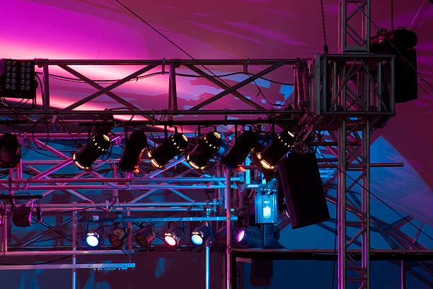 Close up of stage rigging and lights. Could be music or theatre or opera. (Actually it's Bruce Cockburn.) Winnipeg Folk Fest Main Stage. July 2006. rigging stock pictures, royalty-free photos & images
