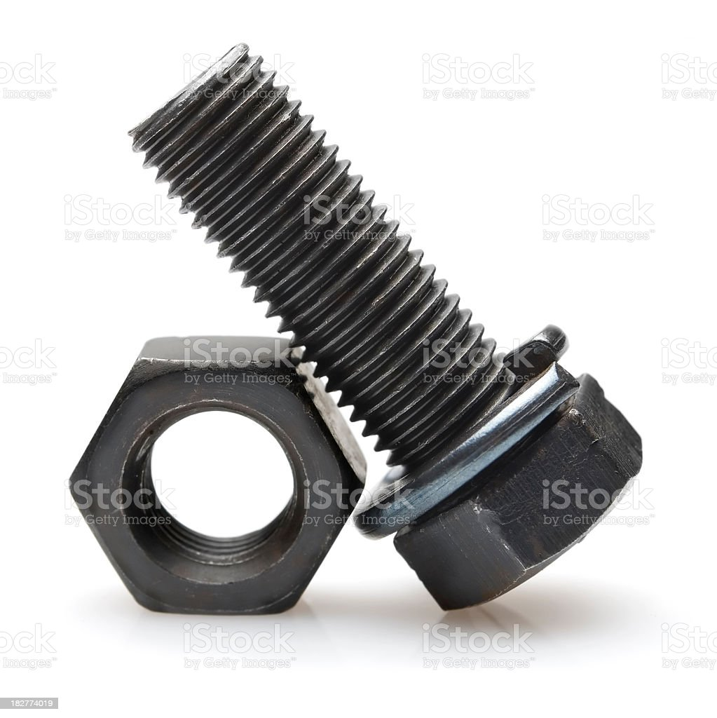 Close up of stainless bolt and nut royalty-free stock photo