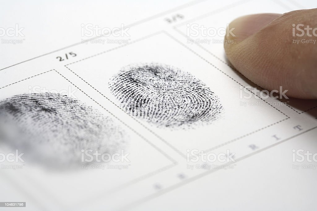 Close up of stamping fingerprints stock photo