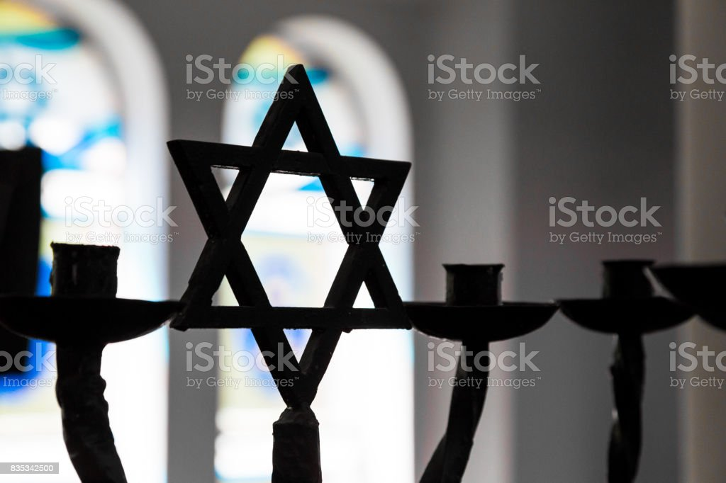 Close up of Star of David silhouette inside Jewish Synagogue stock photo