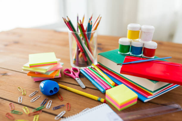 close up of stationery or school supplies on table stock photo