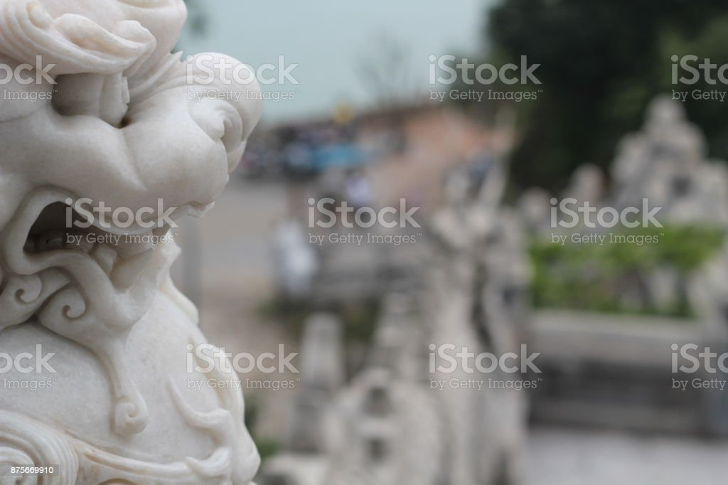close up of statue at Linh Ung pagodas stock photo