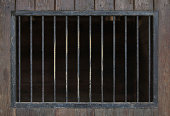 Old Metal Bars on Wooden Background.