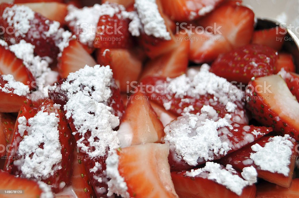 Close up of Strawberries with Powdered Sugar stock photo
