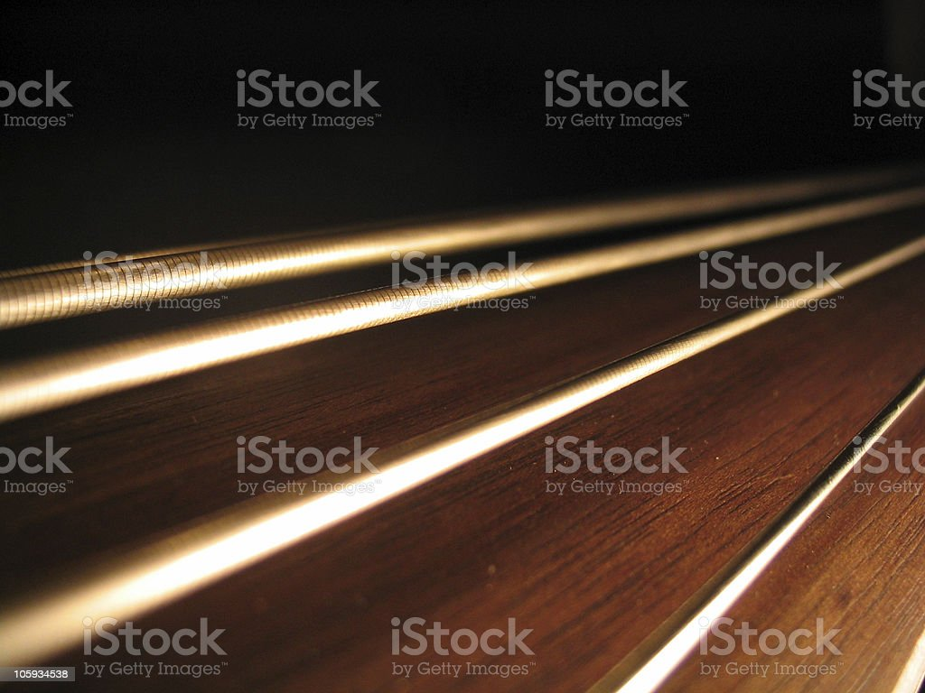 Close up of strings on a guitar stock photo
