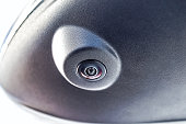 Close up of surround view 360 degrees camera system in the car mirror. Parking assistant and car help systems